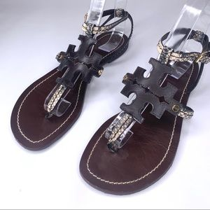 TORY BURCH flat snakeskin leather sandal 7